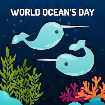 Światowy dzień oceanów z wielorybami