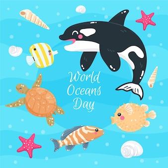 Światowy dzień oceanów ze zwierzętami morskimi