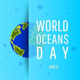 Światowy dzień oceanu. koncepcja dzień ziemi. chroń naszą planetę. płaski styl.