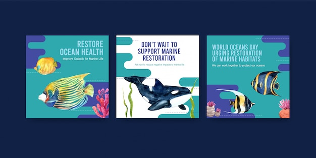 Światowy dzień oceanu szablon koncepcji ochrony środowiska z rybami, koralowcami i orkami.