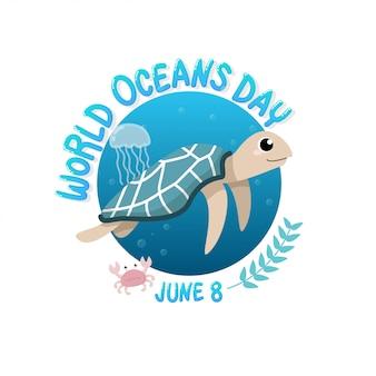 Światowy dzień oceanu z żółwiem pływającym w morzu z meduzami i krabami w kręgu.