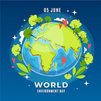 Światowy dzień ochrony środowiska w płaskiej konstrukcji