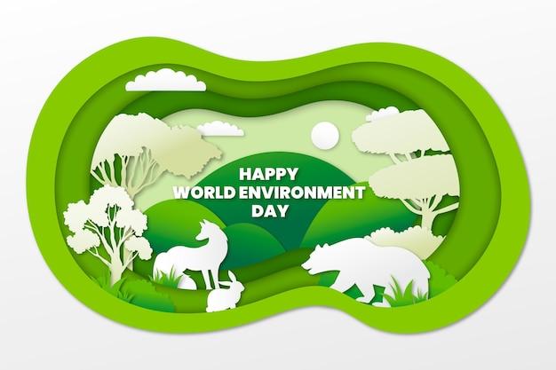 Światowy dzień ochrony środowiska w stylu papierowym z naturą