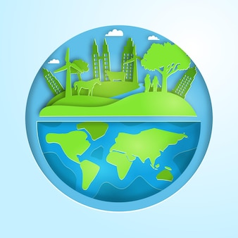 Światowy dzień ochrony środowiska w stylu papierowym z planetą