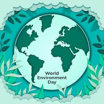Światowy dzień ochrony środowiska w stylu papierowym z ziemią