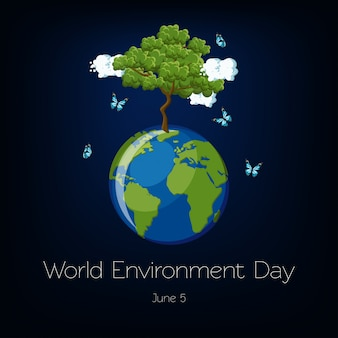 Światowy Dzień Ochrony środowiska Z Ilustracją Ziemskiej I Drzewa Premium Wektorów