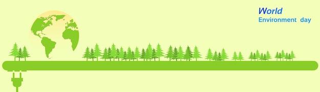 Światowy dzień ochrony środowiska zielona sylwetka lasu