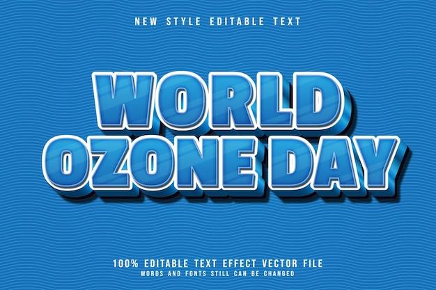 Światowy dzień ozonu edytowalny efekt tekstowy 3 wymiarowy tłoczenie prosty styl kreskówki