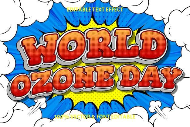 Światowy dzień ozonu edytowalny efekt tekstowy 3 wymiary wytłoczony styl komiksowy