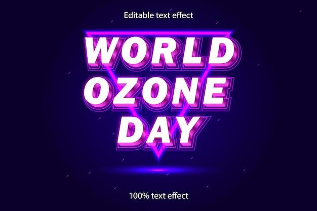 Światowy dzień ozonu edytowalny efekt tekstowy w stylu neonowym