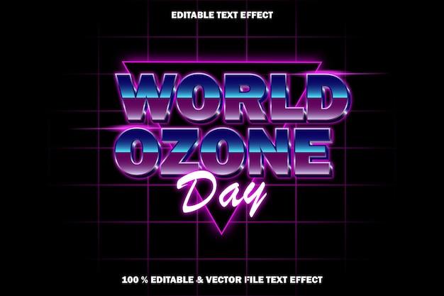 Światowy dzień ozonu edytowalny efekt tekstowy w stylu retro