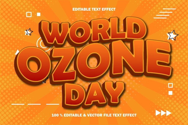 Światowy dzień ozonu edytowalny efekt tekstowy wytłoczony komiks w stylu komiksowym