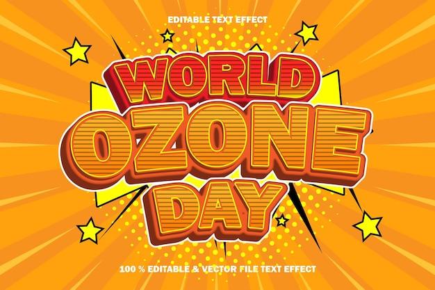 Światowy dzień ozonu z edytowalnym efektem tekstowym z komiksem w stylu komiksowym