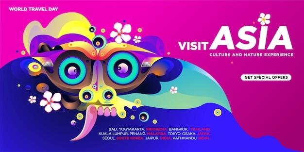 Światowy dzień podróży azjatyckich odwiedź szablon transparent