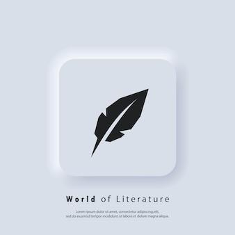 Światowy dzień poezji. ikona pióra pisania. logo kałamarza i długopisu. świat literatury. wektor. ikona interfejsu użytkownika. biały przycisk sieciowy interfejsu użytkownika neumorphic ui ux. neumorfizm