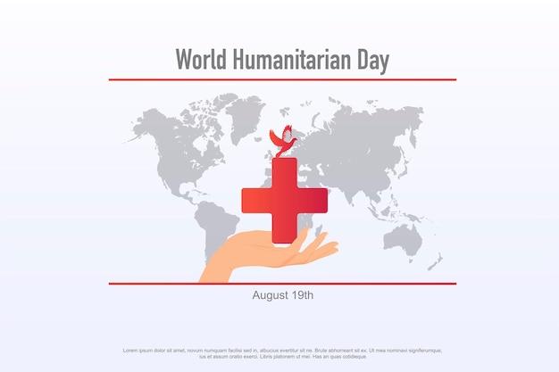 Światowy dzień pomocy humanitarnej obchodzony co roku 19 sierpnia na całym świecie szablon transparentu pomoc w opiece