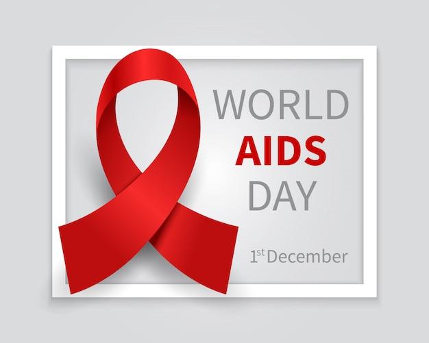 Światowy dzień pomocy tło. hiv dzień czerwoną wstążką wektor medycyna tło