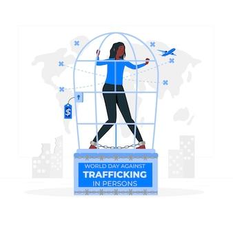 Światowy dzień przeciwko handlowi ludźmi ilustracja koncepcja