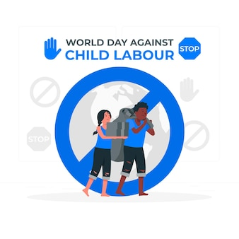Światowy dzień przeciwko ilustracji koncepcji pracy dzieci