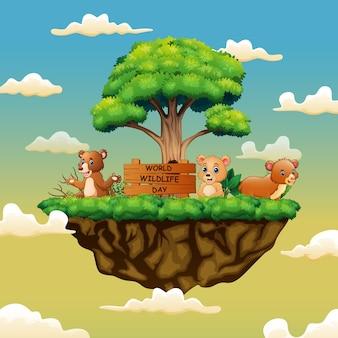 Światowy dzień przyrody z trzema pandami na wyspie