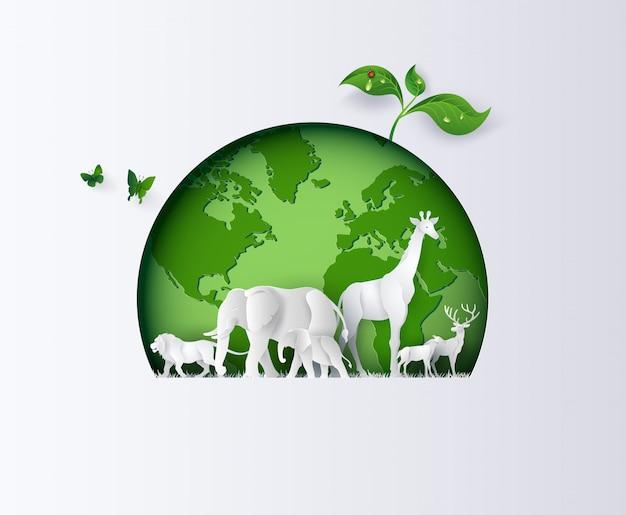 Światowy dzień przyrody ze zwierzęciem w lesie