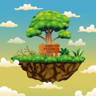 Światowy dzień przyrody znak koncepcja tło na wyspie