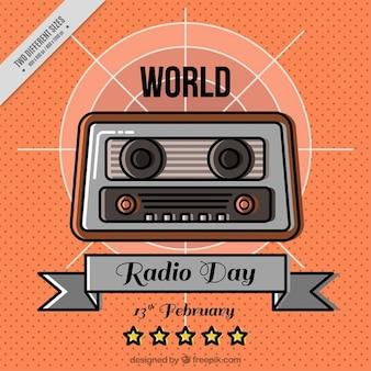 Światowy dzień radia pomarańczowym tle
