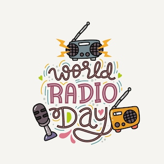 Światowy dzień radia ręcznie rysowane napis
