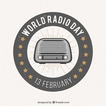 Światowy dzień radia tło w stylu retro