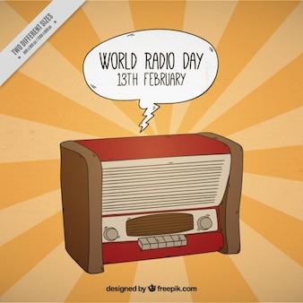 Światowy dzień radia tło z dymka