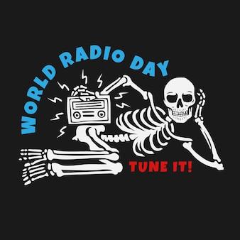 Światowy dzień radia z koncepcją projektowania czaszki.
