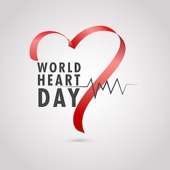 Światowy dzień serca tekst z pulsu i czerwoną wstążką jedwabną na błyszczącym tle.