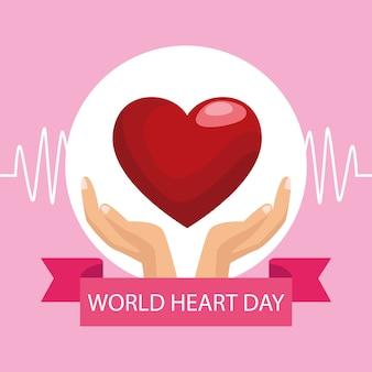 Światowy dzień serca z rękami chroniącymi ramkę serca i wstążki.