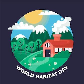 Światowy dzień siedlisk w płaskiej konstrukcji