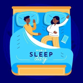 Światowy dzień snu ilustracja z parą w łóżku