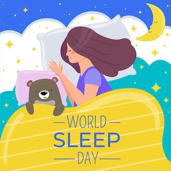 Światowy dzień snu ilustracja ze śpiącą kobietą śpiącą i niedźwiedziem