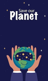 Światowy dzień snu. plakat pionowy. ręce trzymają śpiącą planetę ziemię w masce. tekst ocal naszą planetę. płaskie ilustracji wektorowych