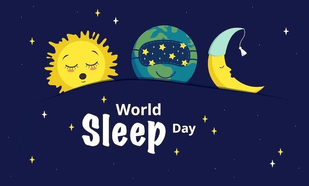 Światowy dzień snu. uśpiona planeta ziemia, księżyc