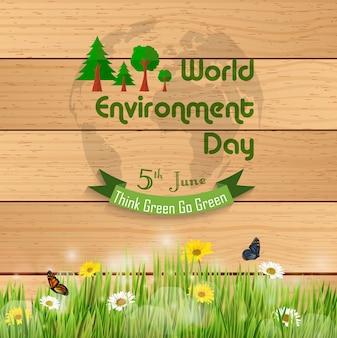 Światowy dzień środowiska sztandar na drewnianym tle