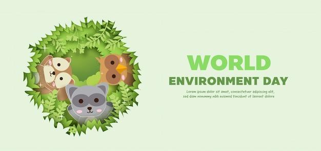 Światowy dzień środowiska transparent z uroczych zwierzątek w stylu cięcia papieru.