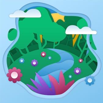 Światowy dzień środowiska w stylu papierowym ze sceną przyrodniczą
