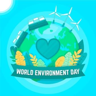 Światowy dzień środowiska w stylu płaskiej