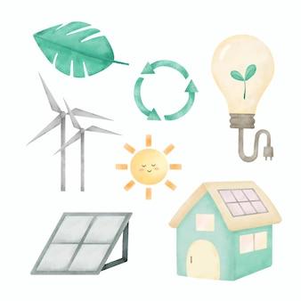 Światowy dzień środowiska z panelem energii słonecznej turbiny wiatrowej
