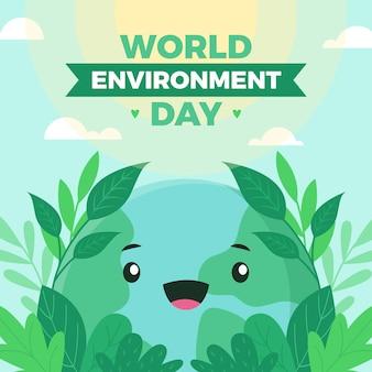 Światowy dzień środowiska z uroczą planetą