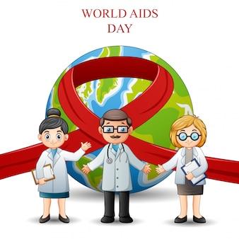 Światowy dzień świadomości aids czerwona wstążka znak z lekarzami