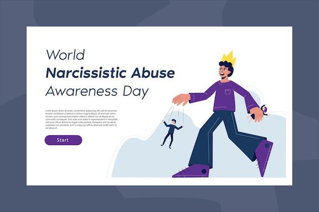 Światowy dzień świadomości nadużyć narcystycznych. szablon strony docelowej z płaskim charakterem. mężczyzna z koroną na głowie jest symbolem oprawcy i manipulatora.