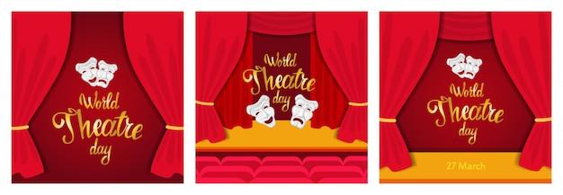 Światowy dzień teatru. kartkę z życzeniami z czerwoną sceną i białymi maskami.