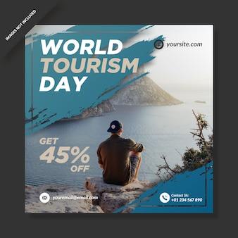 Światowy dzień turystyki banner post na instagramie w mediach społecznościowych