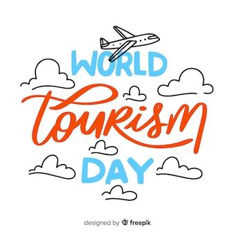 Światowy Dzień Turystyki Napis Tło Darmowych Wektorów