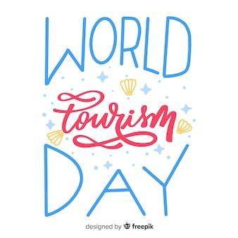 Światowy dzień turystyki napis tło